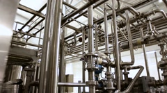 Industrial zone, Steel pipelines and equipment Stock Footage