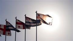 Georgian flag with the sun 2 Stock Footage
