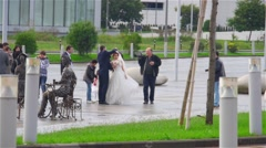 Georgian wedding after the rain Stock Footage