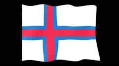 Flag of Faroe Islands.    Waving flag (PNG) computer animatie. Stock Footage