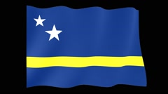 Flag of Curacao.  Waving flag (PNG) computer animatie. Stock Footage