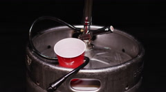 Beer Keg - Party Culture Metal Canister full of craft brew Stock Footage