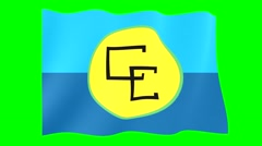 Flag of Caricom.  Waving flag (PNG) computer animatie. - stock footage
