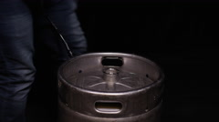 Beer Keg - Party Culture Metal Canister full of craft brew - stock footage