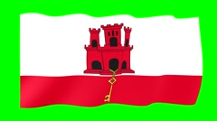 Flag of Gibraltar. Waving flag (PNG) computer animatie. Stock Footage