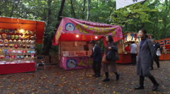 Food and Souvenir Stalls at Astuta Shinto Shrine in Nagoya, Japan Stock Footage