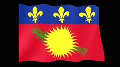 Flag of Guadeloupe.  Waving flag (PNG) computer animatie. - stock footage