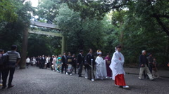Wedding Procession at Atsuta Shrine in Nagoya, Japan Stock Footage