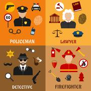 Policeman, firefighter, detective and lawyer icons Piirros