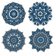 Circular patterns with blue openwork ornament - stock illustration