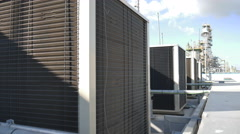 Industrial air condition on top of building Stock Footage