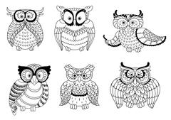 Decorative colorless owls and cute owlets - stock illustration