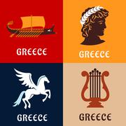 Greece culture, history and mythology icons - stock illustration
