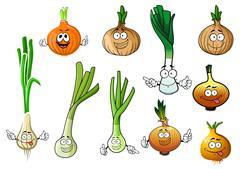 Green, leek and bulb onion vegetables - stock illustration