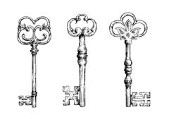 Stock Illustration of Isolated medieval victorian forged keys sketches
