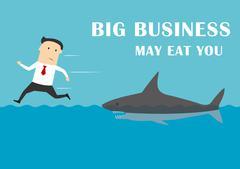 Stock Illustration of Big business shark attacking a businessman