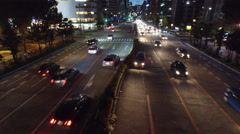 Busy Road at Night in Nagoya, Japan Stock Footage