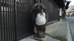 Tanuki Statue on Historically Preserved Street in Naraijuku, Japan Stock Footage