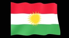 Flag of Kurdistan.  Waving flag (PNG) computer animatie. Stock Footage