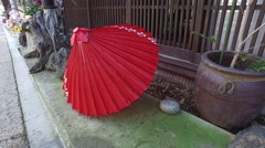 Parasol on Historically Preserved Street in Naraijuku, Japan Stock Footage