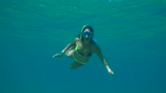 Young Happy Woman Snorkeling Underwater With Peace Sign Stock Footage