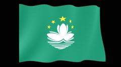Flag of Macau. Waving flag (PNG) computer animatie. - stock footage