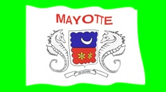 Flag of Mayotte. Waving flag (PNG) computer animatie. Stock Footage