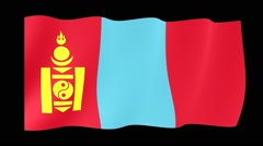 Flag of Mongolia.  Waving flag (PNG) computer animatie. Stock Footage