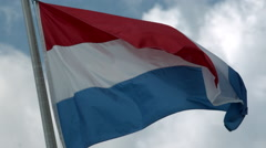 Flag of the Netherlands Waving in the Wind in Slow Motion Stock Footage