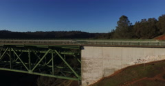 Panning Along the Side the Foresthill Bridge Stock Footage
