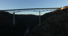 Approaching the Foresthill Bridge from Below Stock Footage