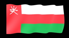 Flag of Oman.  Waving flag (PNG) computer animatie. Stock Footage