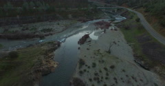 Flying over Where the North and South Forks of the American River Meet Stock Footage