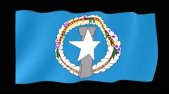 Flag of Northen Mariana Island.  Waving flag (PNG) computer animatie. - stock footage