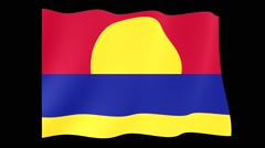 Flag of Palmyra Atoll.  Waving flag (PNG) computer animatie. - stock footage