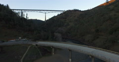 Foresthill Bridge and the Bridge over North Fork of the American River Stock Footage