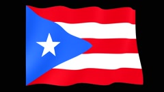 Flag of Puerto Rico. Waving flag (PNG) computer animatie. - stock footage