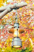Old lantern with outdoor view in autum season - stock photo