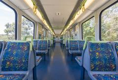 Interior of an empty train - stock photo