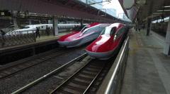 Shinkansen Departs from Tokyo Station - stock footage