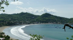 Beach San Juan del Sur from hill top Stock Footage
