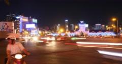 HO CHI MINH / SAIGON, VIETNAM - 2015: Street traffic asian city night time lapse Stock Footage