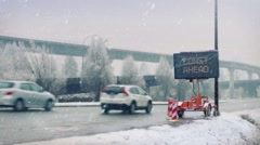 Busy Highway In Heavy Snow Fall Stock Footage