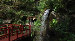 Waterfall at Nanzoin Buddhist Temple in Japan Stock Footage