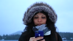 Woman on Smartphone Outdoors Stock Video - stock footage