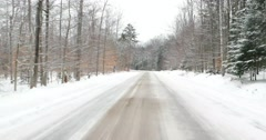 Driving on Snow Covered Road in New York 4K Stock Video - stock footage