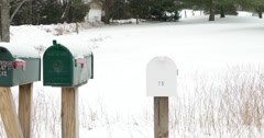 Driving Past Old Mailboxes on Winter Country Road 4k Stock Video Stock Footage