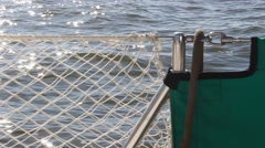 Sailing: Lifeline on sailboat in foreground Stock Footage
