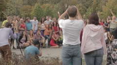 Ungraded: Young People Make Group Photo With Multiple Photographers Stock Footage