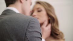 Happy groom and bride. Happy and cheerful wedding couple showing tender feelings - stock footage